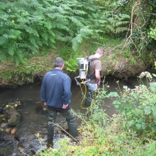Electro fishing in the headwaters
